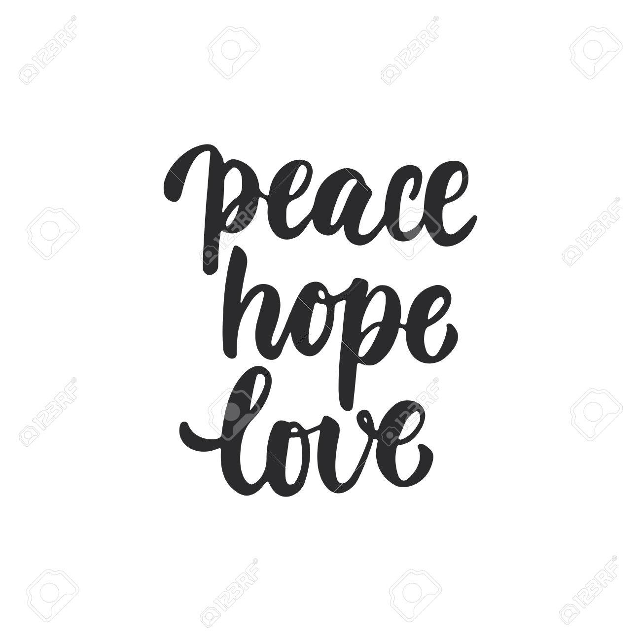 Paz Esperanza Amor Letras De Navidad Y Año Nuevo Vacaciones Caligrafía Frase Aislada En El Fondo Tipografía De Tinta Cepillo De Diversión Para
