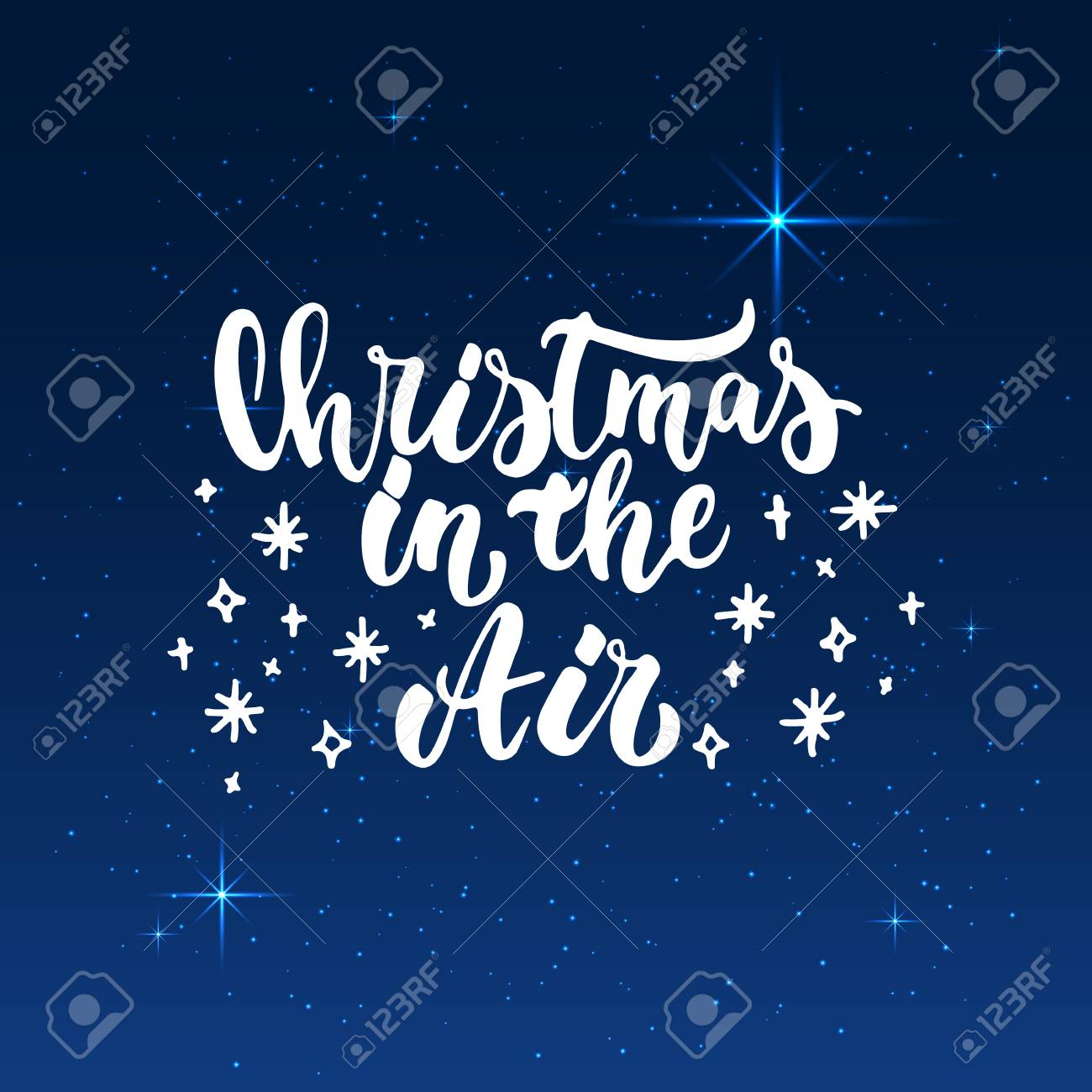 Christmas In The Air.Christmas In The Air Lettering Christmas And New Year Holiday