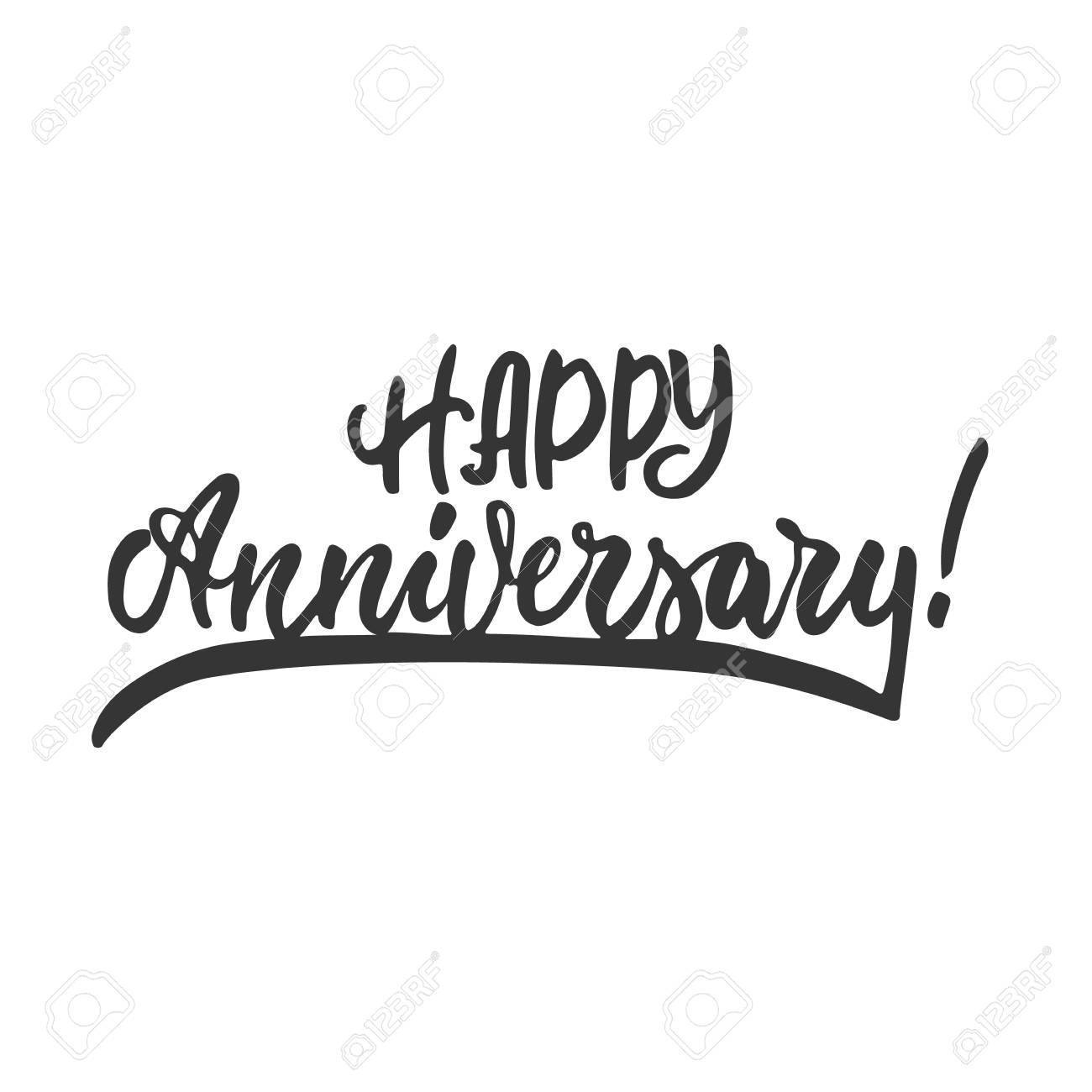 picture regarding Happy Anniversary Printable Card called Satisfied anniversary - hand drawn lettering time period isolated upon the..