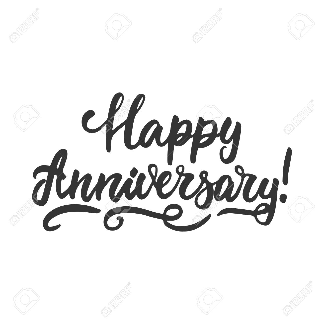 happy anniversary hand drawn lettering phrase isolated on the white background fun brush ink