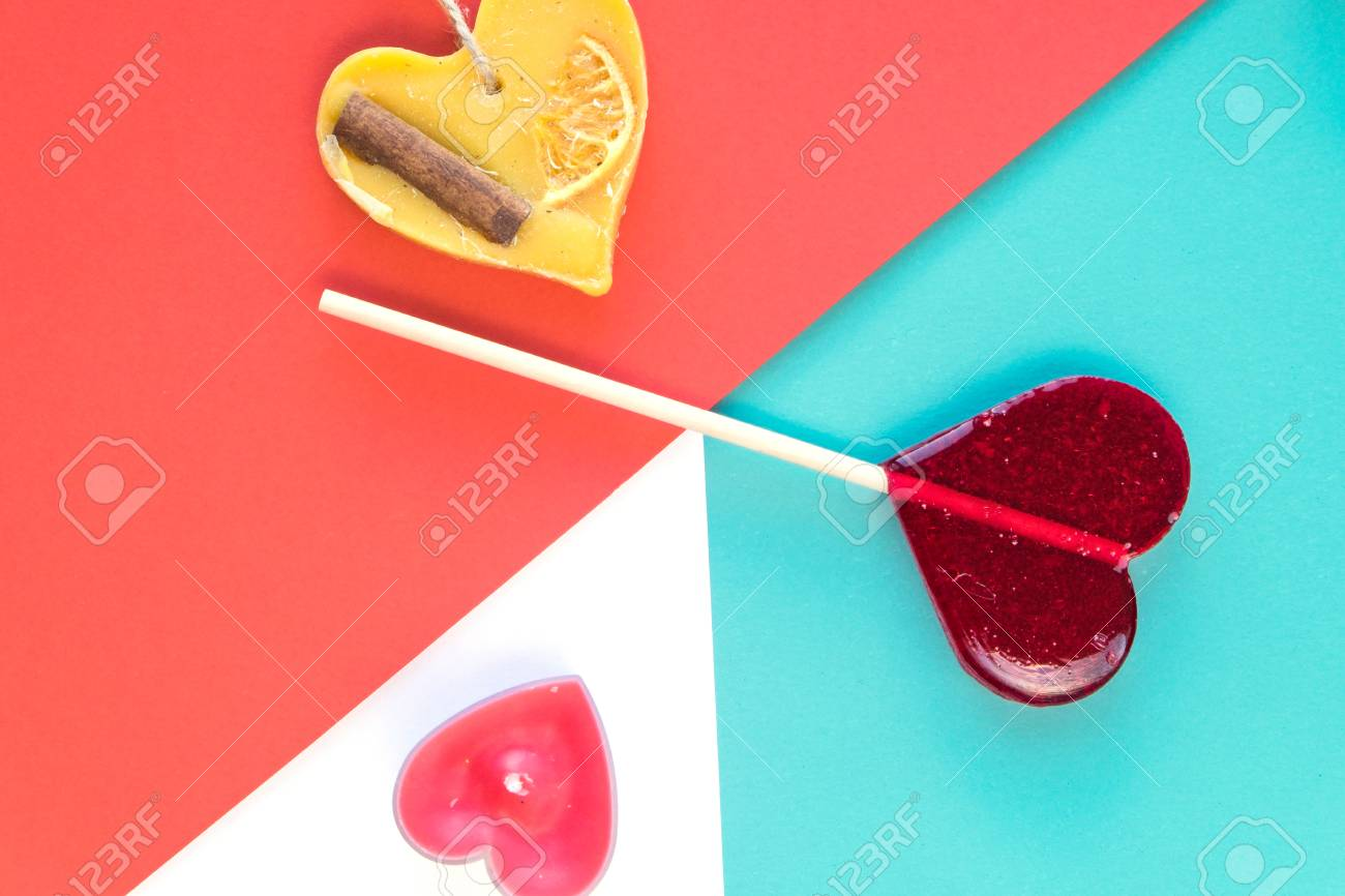 Valentines Day Greeting Cards With Heart Lollipop Candle On Stock