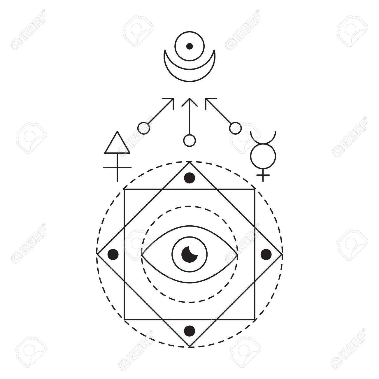Symbol of alchemy and sacred geometry linear character symbol of alchemy and sacred geometry linear character illustration for lines tattoo on the white buycottarizona Choice Image