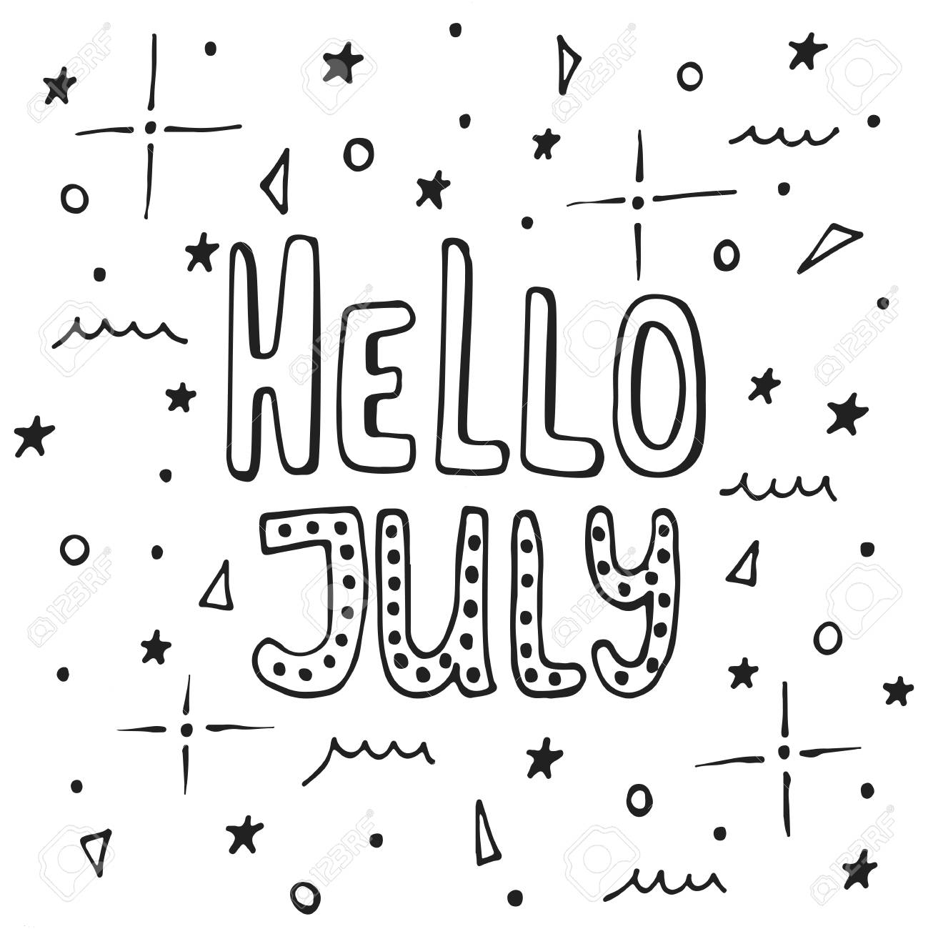Hello, July   Hand Drawn Summer Lettering Quote Isolated On The White  Background. Fun