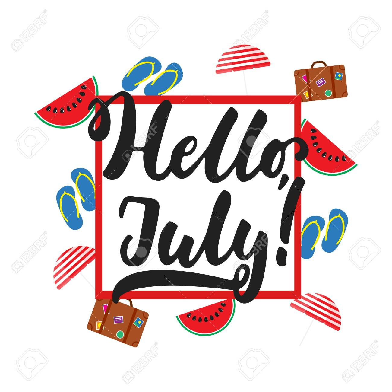 Hello, July   Hand Drawn Summer Lettering Quote Isolated On The White  Background With Watermelon