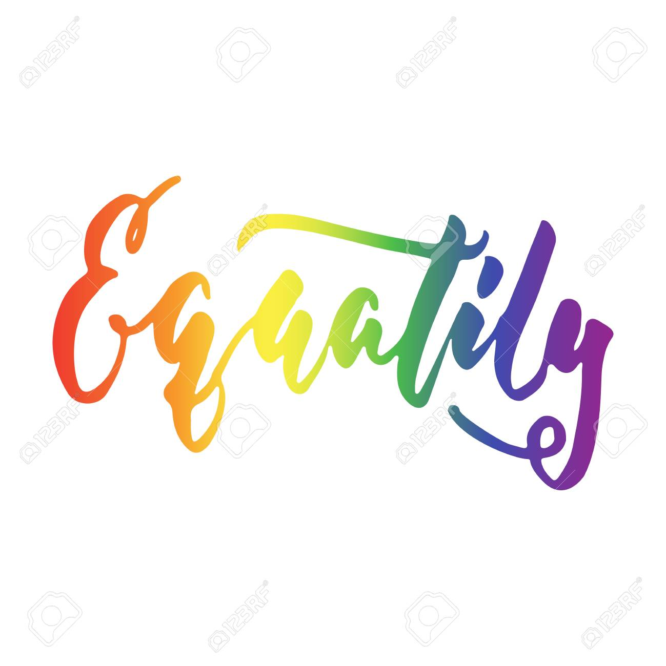 Equality Lgbt Slogan In Rainbow Color Hand Drawn Lettering Quote