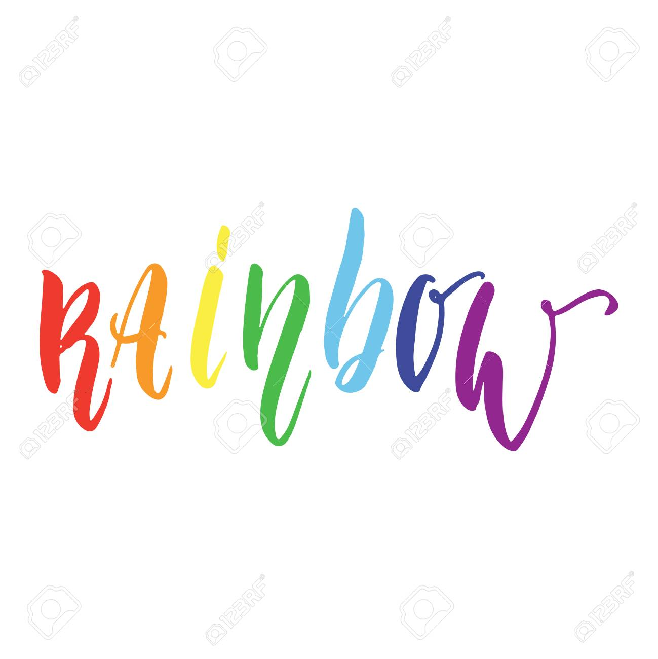 rainbow lgbt slogan hand drawn lettering quote with heart isolated