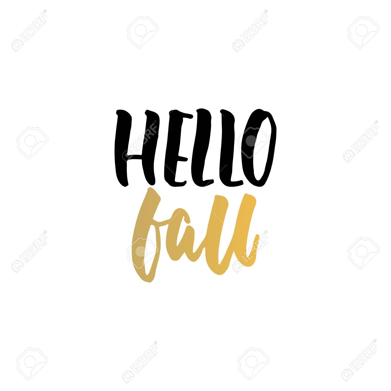 Hello Fall   Autumn Hand Drawn Lettering Quote Isolated On The White  Background. Fun Brush