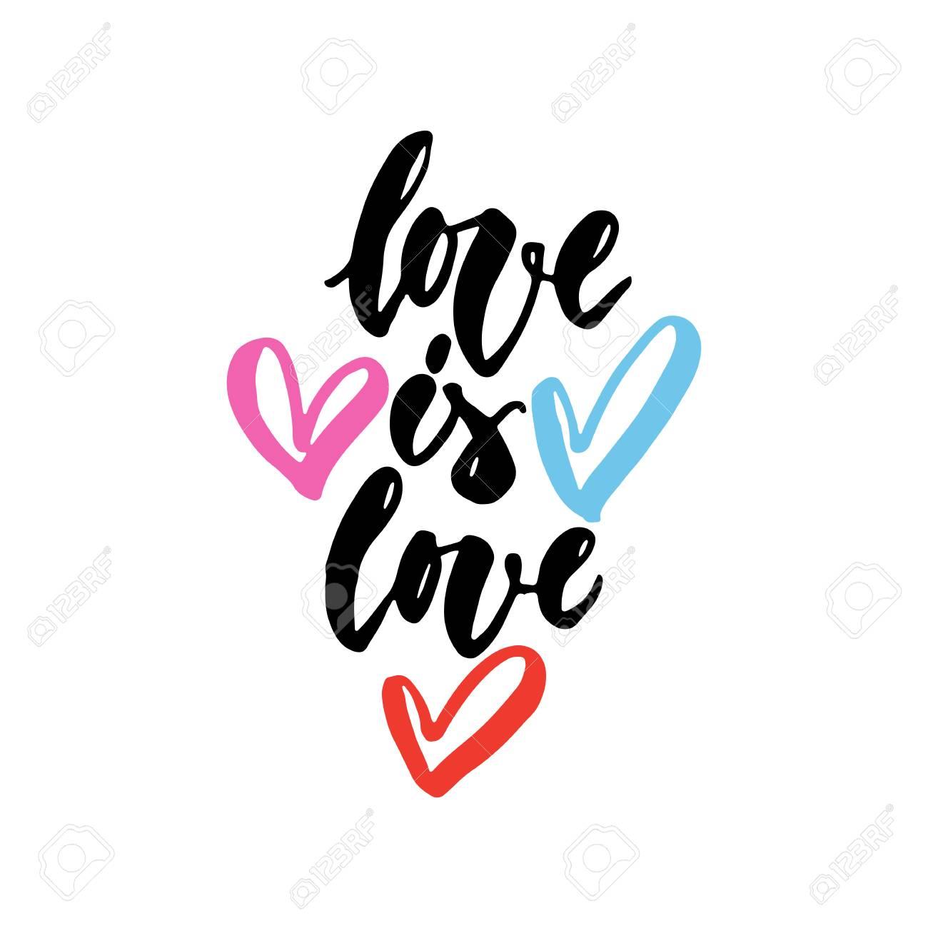L Amour Est Amour Citation De Lettrage Lgbt Slogan Dessinés à La Main Avec Des Coeurs Isolés Sur Le Fond Blanc Inscription D Encre Brosse Amusant