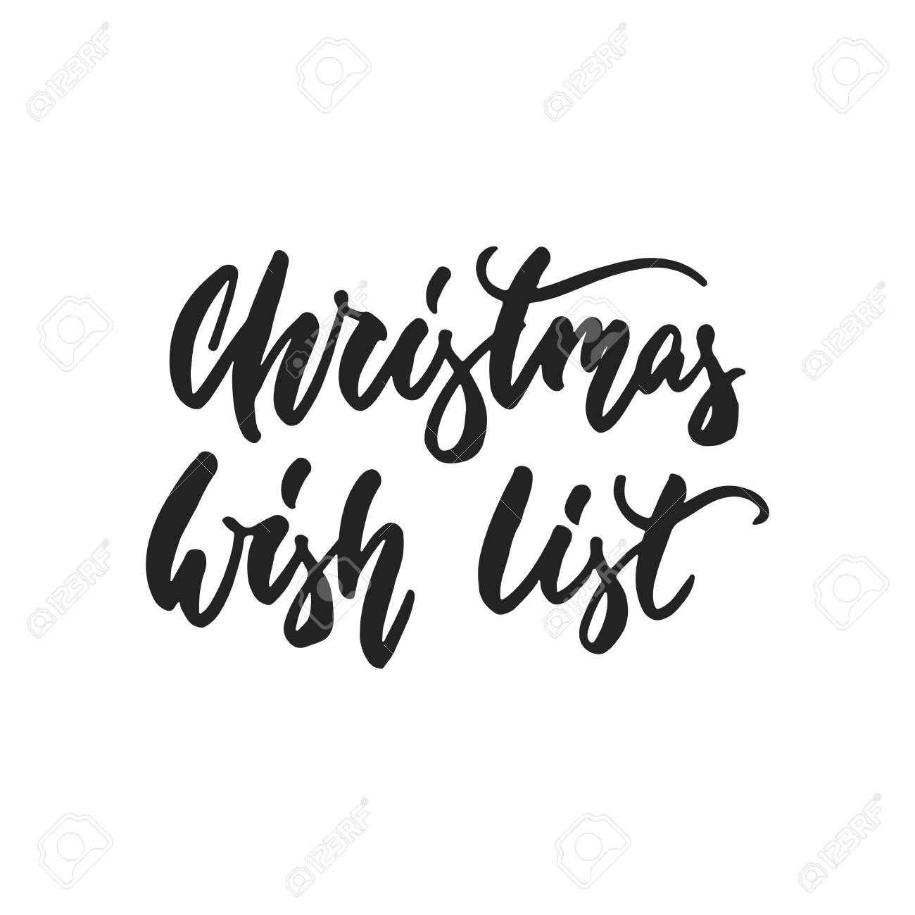 Lista De Deseos De Navidad - Dibujado A Mano Letras Inscripción Para ...
