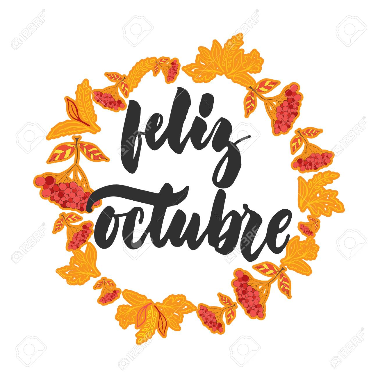Feliz Octubre   Happy October In Spanish, Hand Drawn Latin Autumn Month  Lettering Quote.