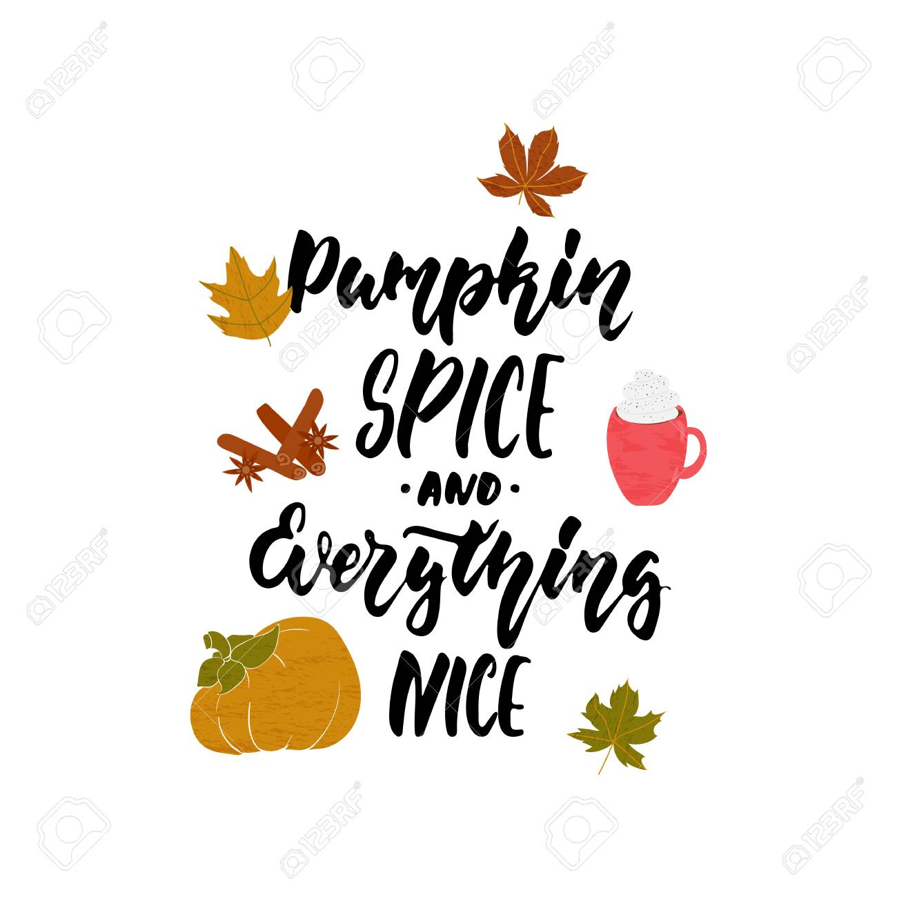 Pumpkin spice and everything nice - hand drawn cozy Autumn seasons holiday lettering phrase and Hugge doodles leaves, latte cup, pumpkin, cinnamon and star anise. Fun brush vector illustration design - 105224840