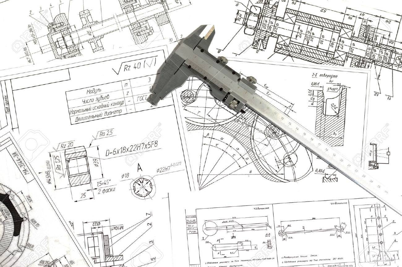 engineering drawings metal detail and caliper stock photo picture