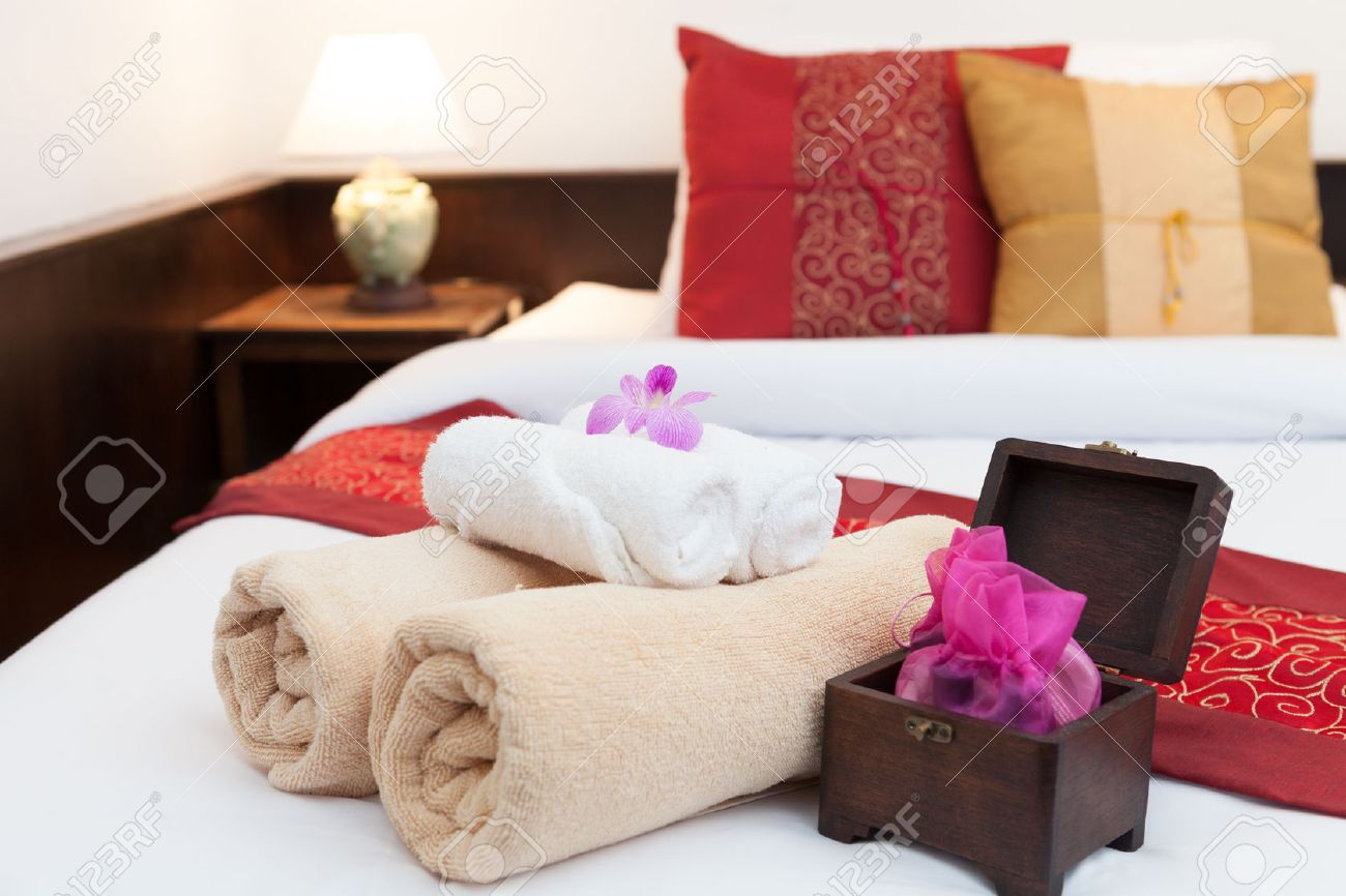 Bedroom ready for guests in soft warm lighting Stock Photo - 23121686