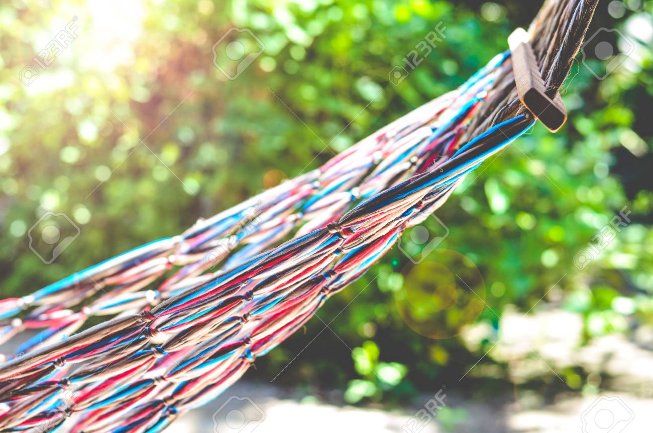 hanging hammock with colorful weaving fabric stock photo picture