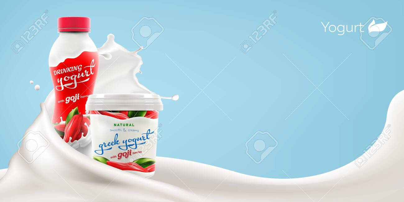 Drinking And Greek Yogurt With Natural Goji Berries Taste And Royalty Free Cliparts Vectors And Stock Illustration Image 135881741