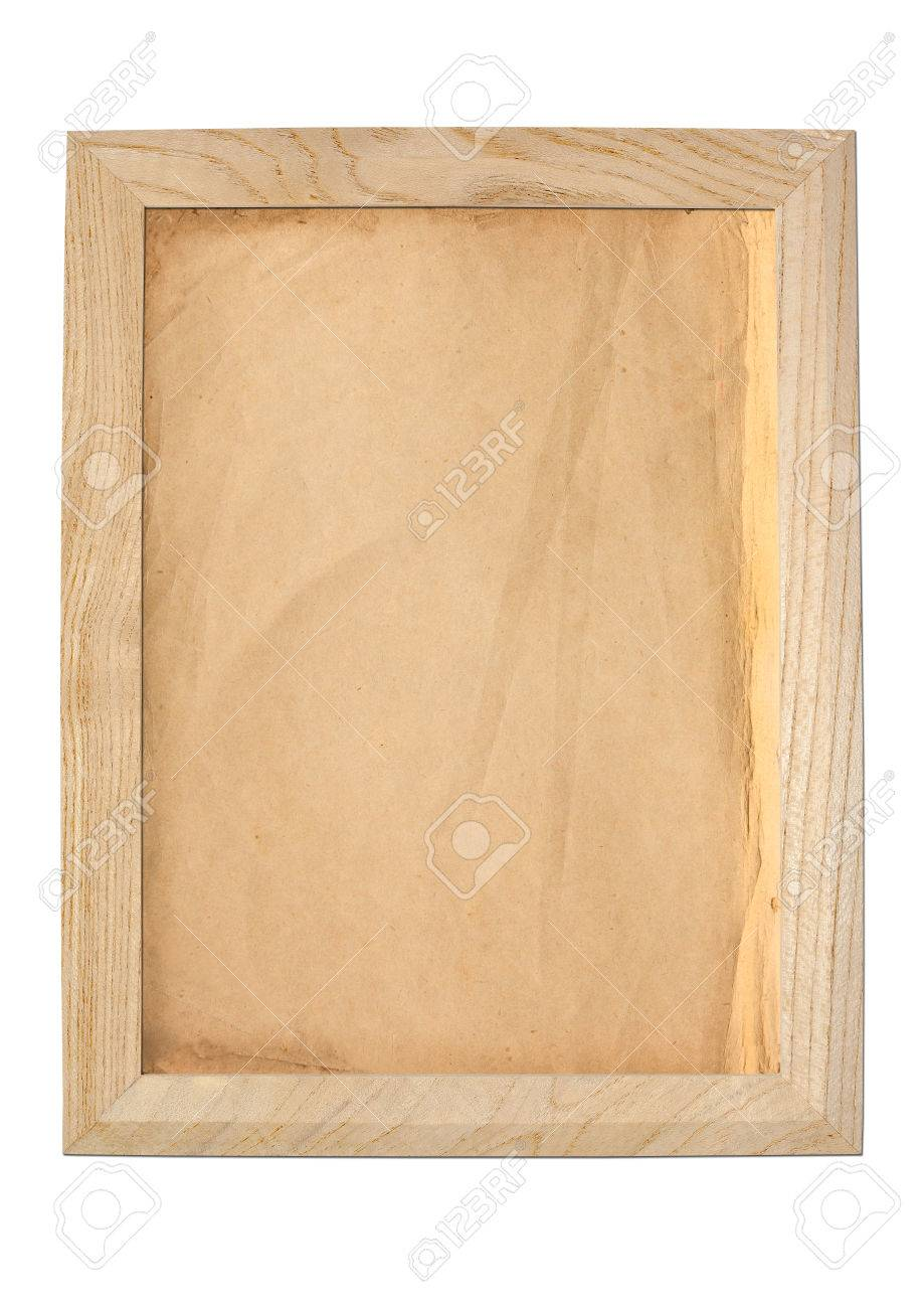 Old Paper Texture Background In Wooden Frame Stock Photo Picture