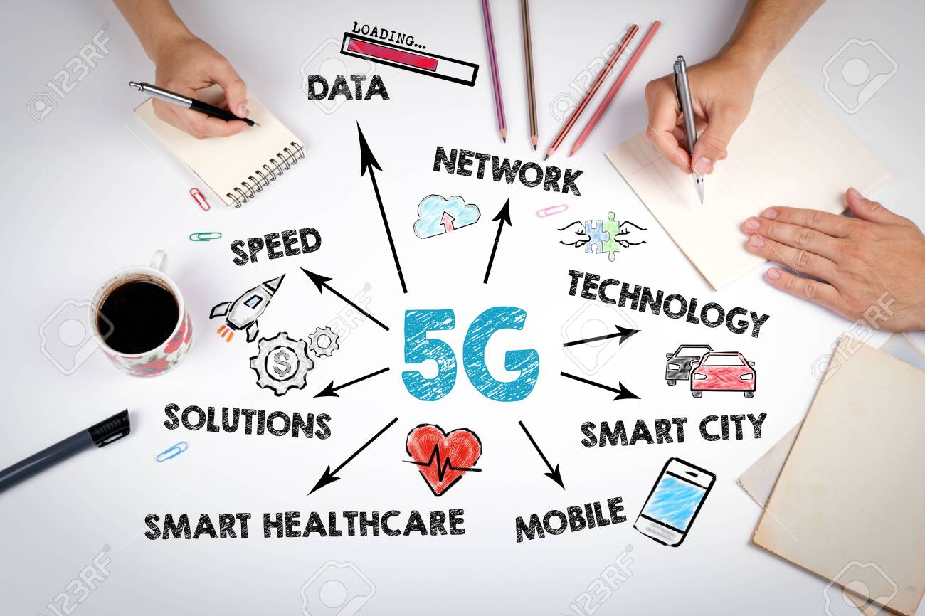 5g tehnology concept. Chart with keywords and icons. The meeting at the white office table - 121845154