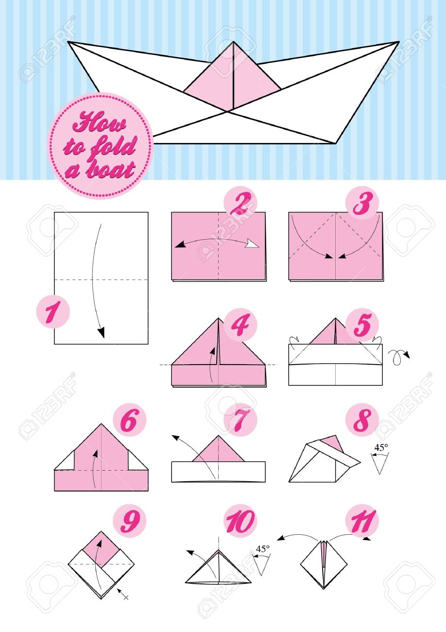 Instructions Etape Par Etape De Pliage Du Papier Comment Faire Un Bateau D Origami Japonais Traditionnel Clip Art Libres De Droits Vecteurs Et Illustration Image 15316976