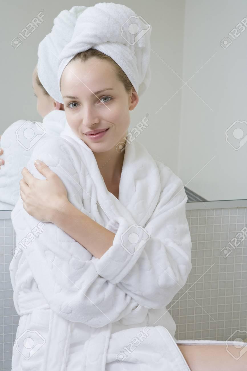 Stock Photo - Young woman wearing bathrobe and turban 7ee81b959