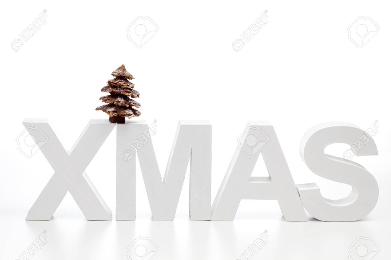 Großbuchstaben Bilden Das Wort Weihnachten Auf Schokolade ...