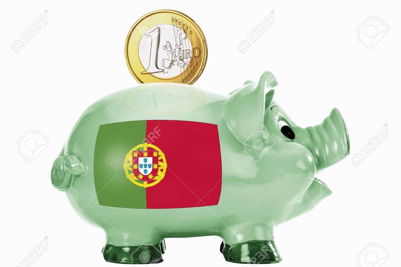 Sparschwein Und Mit 1 Euro Münze Und Portugiesische Flagge