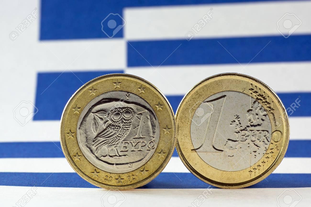 Griechische 1 Euro Münzen Flagge Von Griechenland Lizenzfreie Fotos