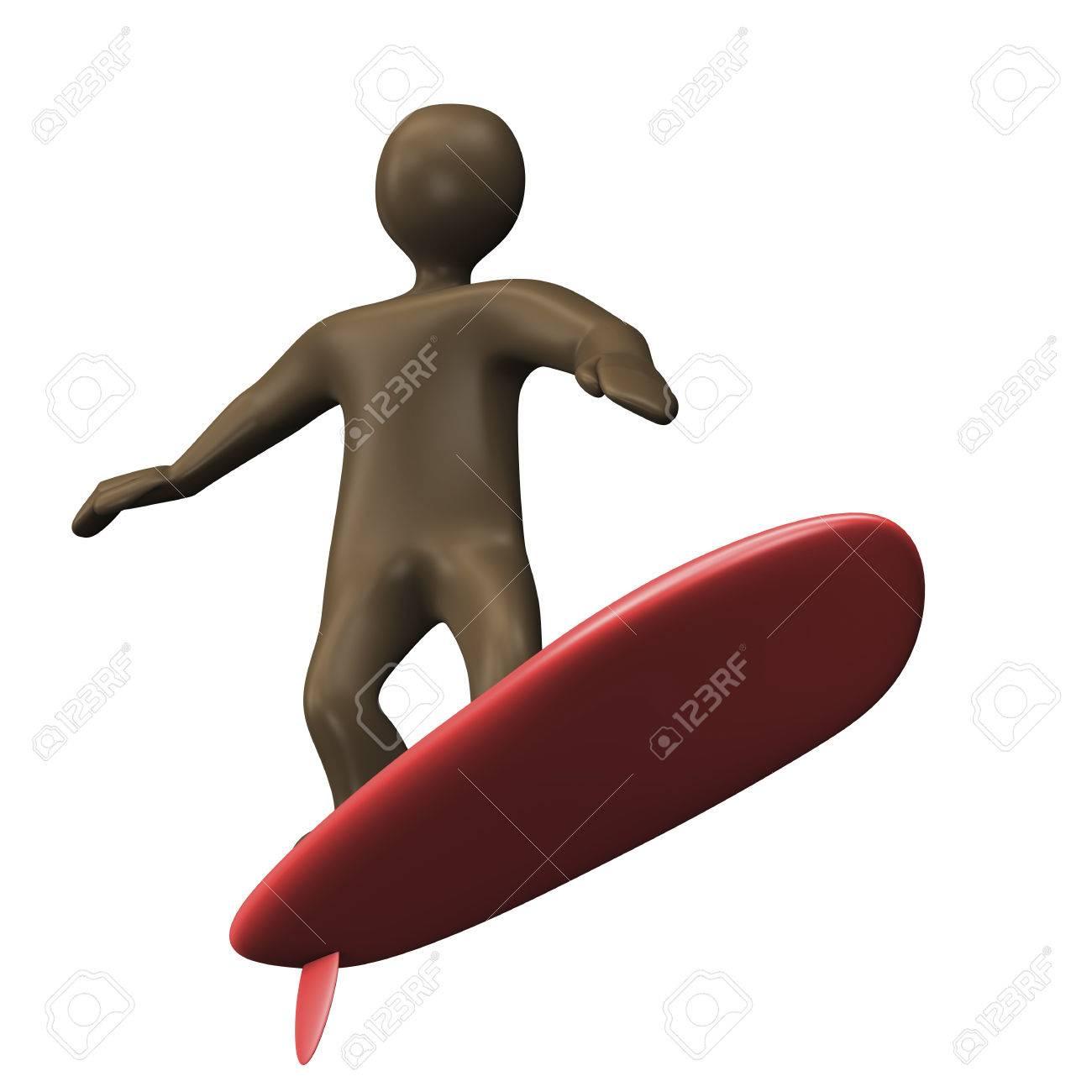 Personnage De Dessin Anime Noir Avec Planche De Surf 3d Illustration Banque D Images Et Photos Libres De Droits Image 37644516