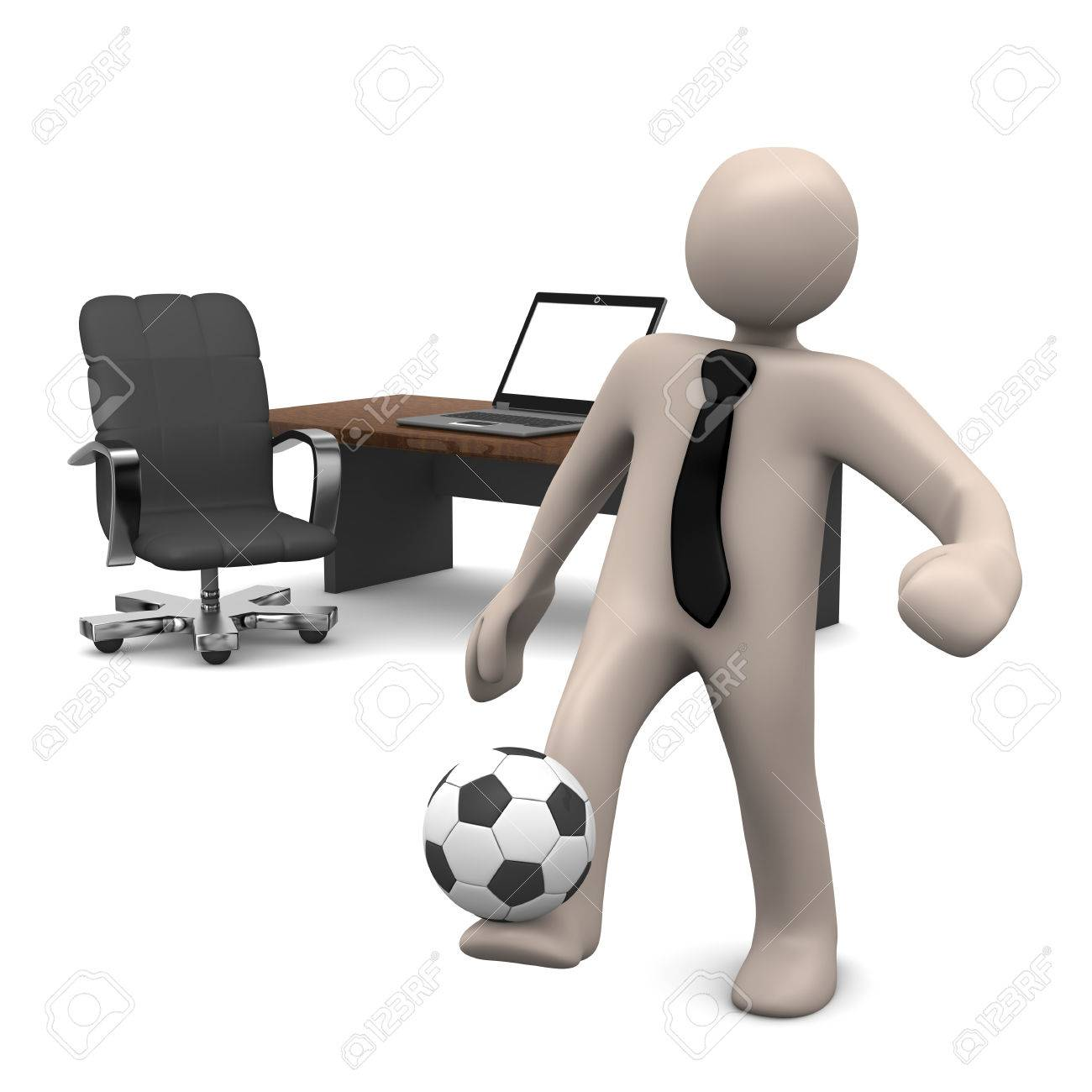 cartoon character playing soccer in office break 3d rendering stock photo 38582564