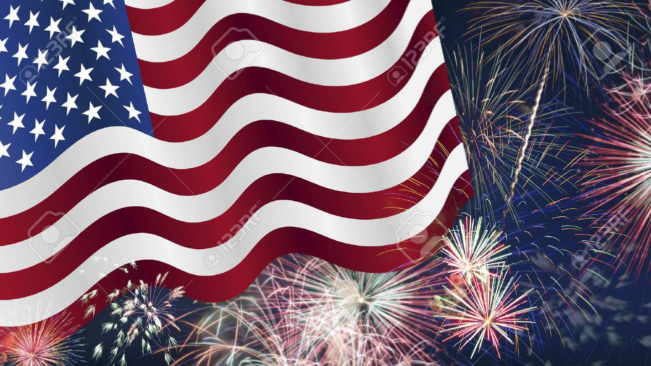Fourth Of July Background Fireworks Usa Themed Composites Stock