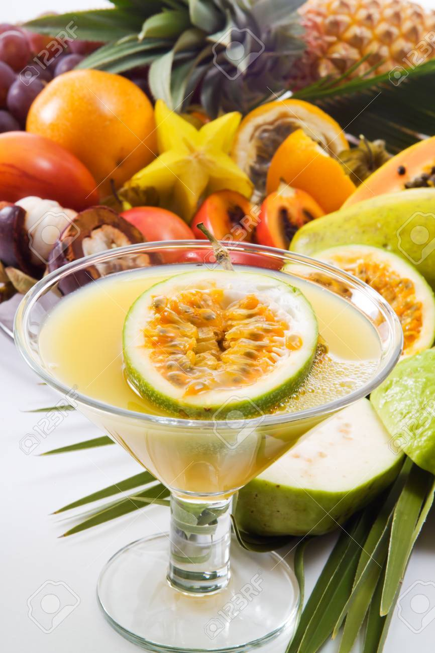 Passion Fruit Juice Glas And Different Tropical Fruits Stock Photo Picture And Royalty Free Image Image 47664194
