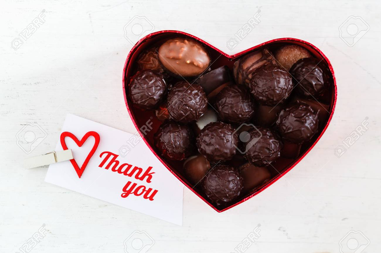 Boîte De Chocolats, Truffes, Je Vous Remercie, Anglais Banque D