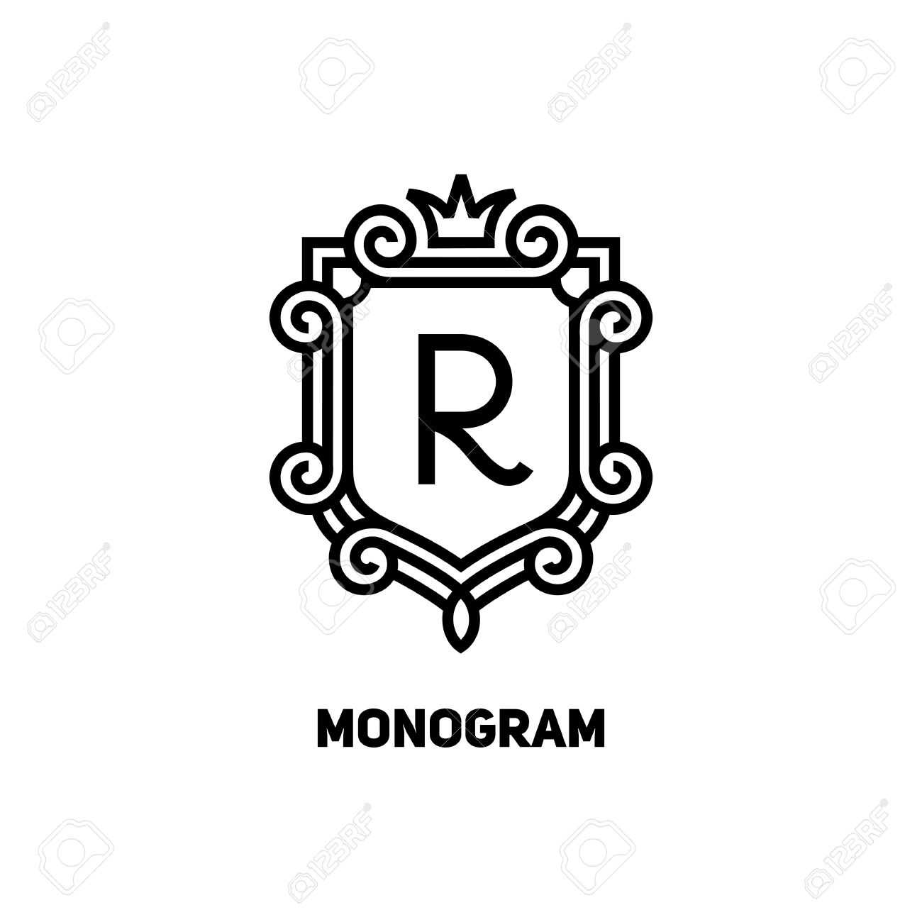 elegant monogram design template with letter r and crown vector