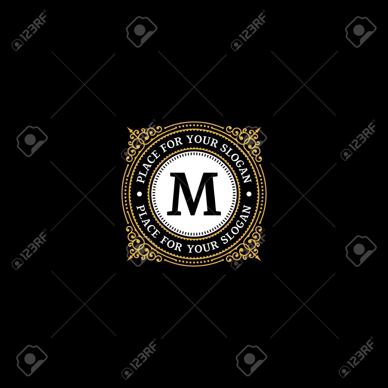 Tj initial luxury ornament monogram logo stock vector - M Monogram Simple Monogram Design Template With Letter M Elegant Frame Ornament Line Logo