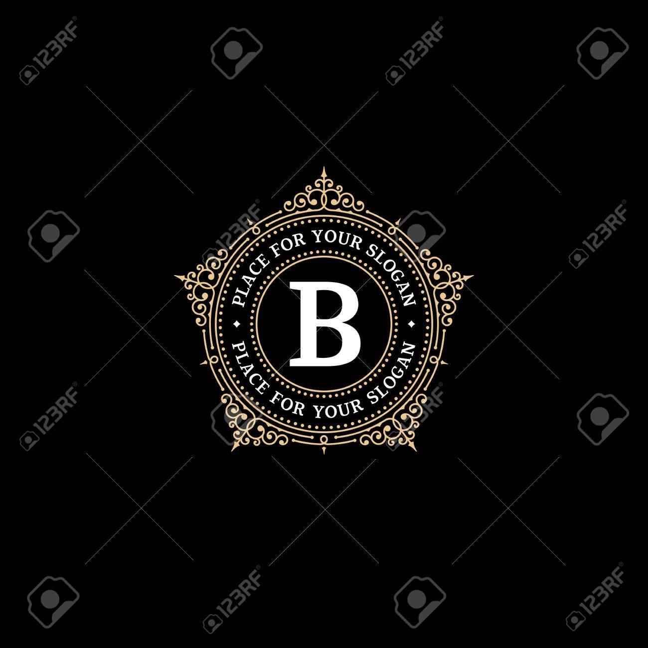 Luxury Graceful Monogram Emblem Template With Letter B. Elegant ...