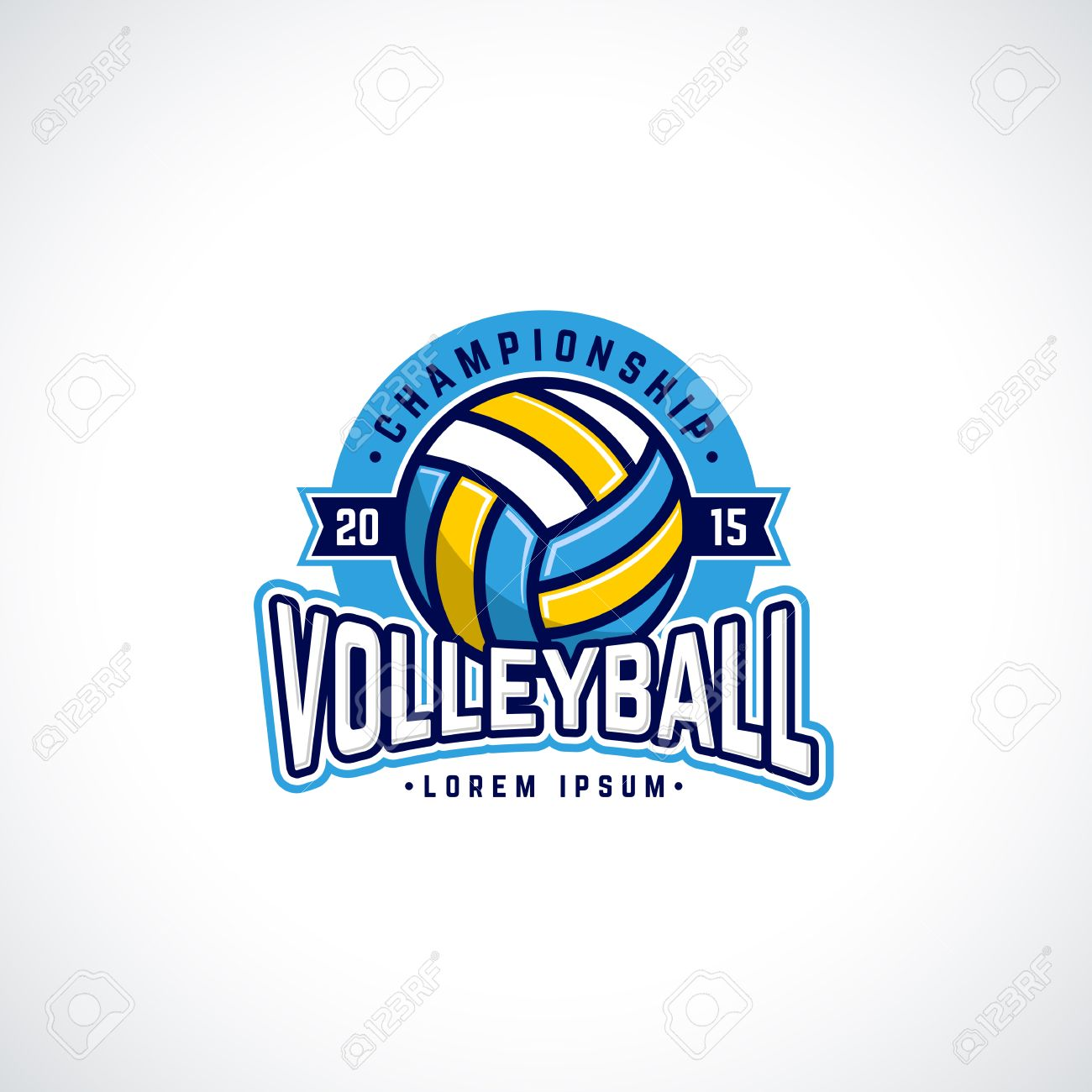 Vector Volleyball Championship Logo With Ball Sport Badge For