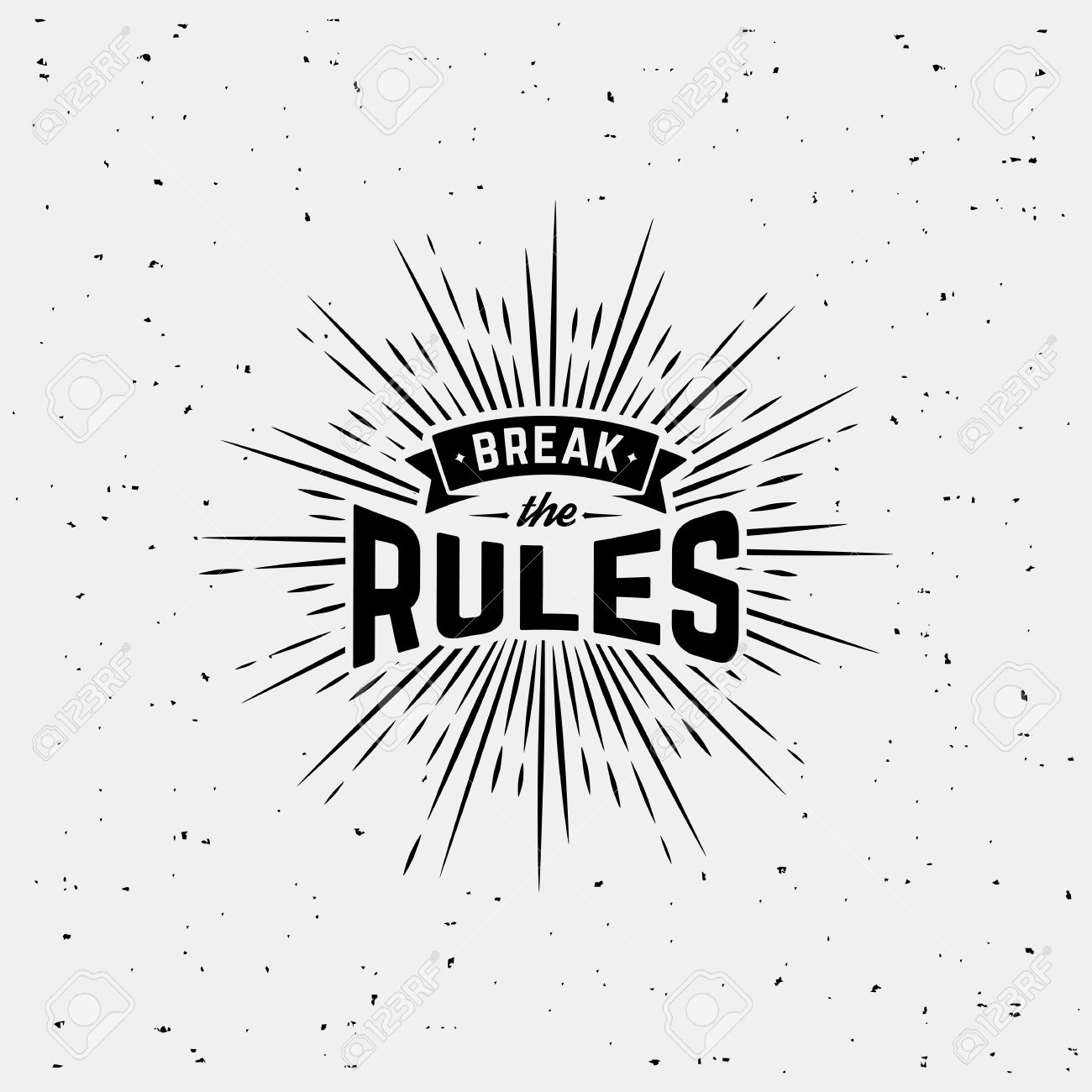 Design t shirt label - Monochrome Hipster Vintage Label Break The Rules With Starburst Print For T Shirt