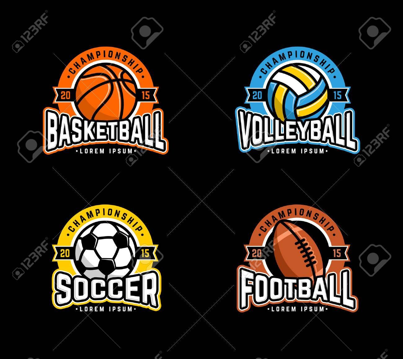 Sport set. Basketball, Volleyball, Soccer, Football. - 43849307