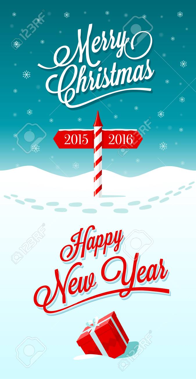 Merry christmas and happy new year greeting card with border stock merry christmas and happy new year greeting card with border between years 2015 and 2016 m4hsunfo