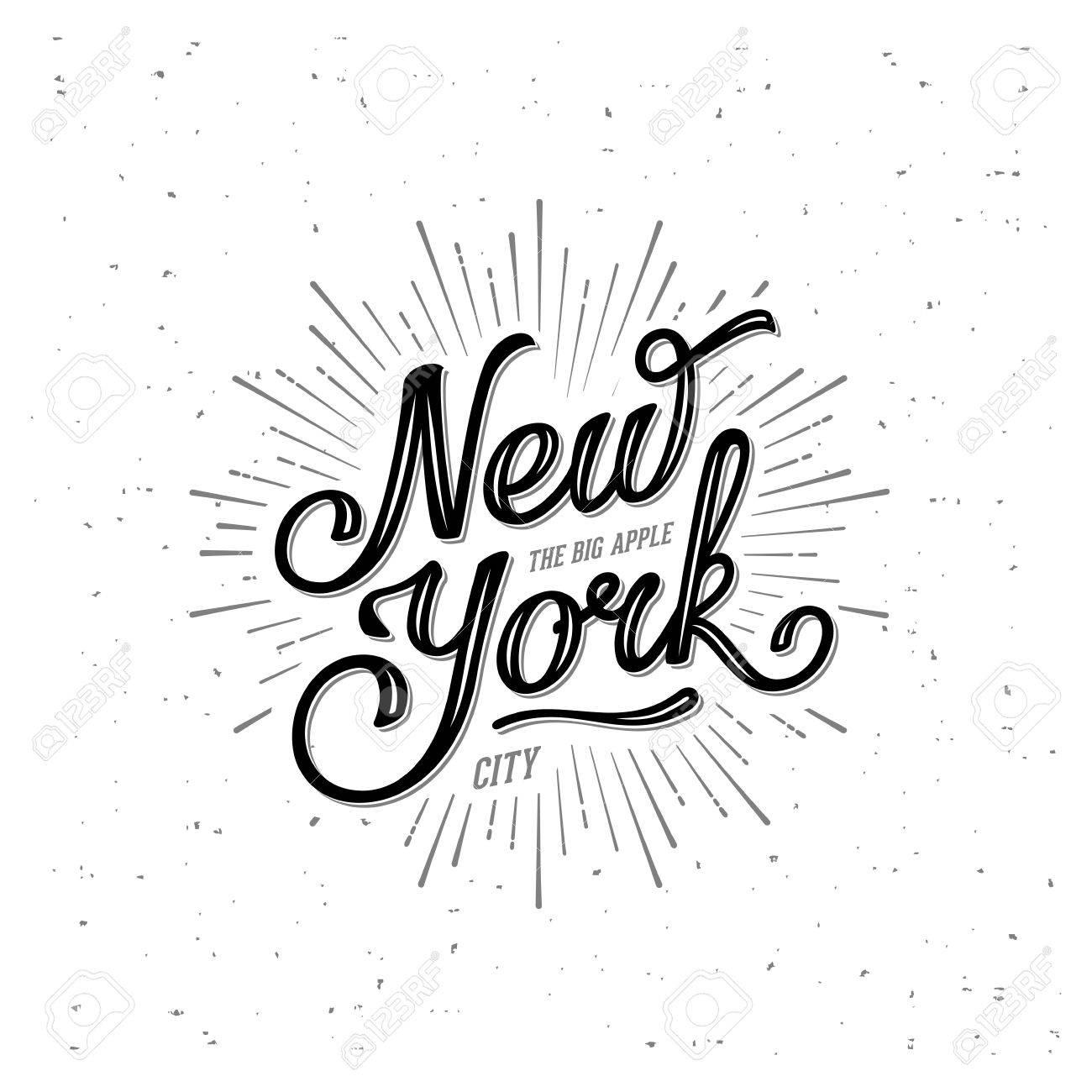 New York City Typografie Mit Starburst. Drucken Für T-Shirt Oder Ein ...