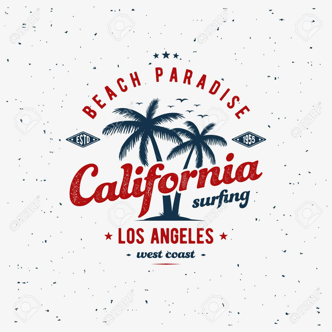 87273418 California surfing typography for t-shirt print. Apparel fashion design.  Vector illustration Stock