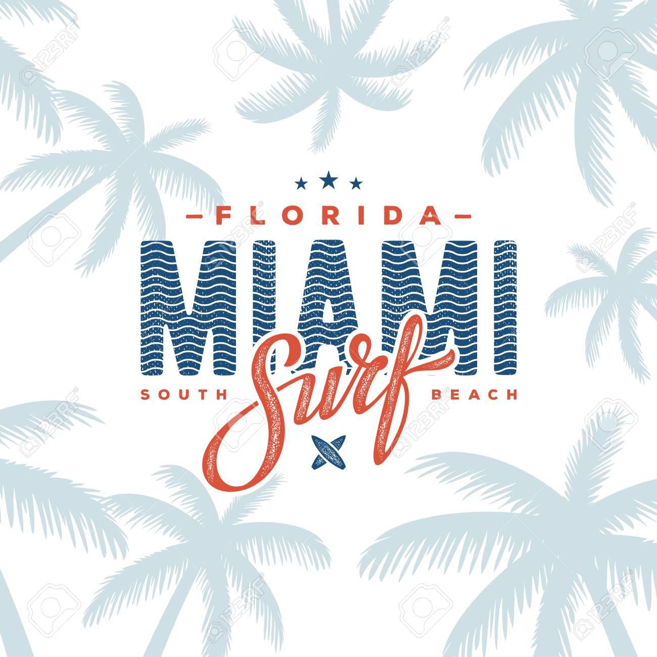 Miami Beach Florida Tee Print With Palm Tree T Shirt Design