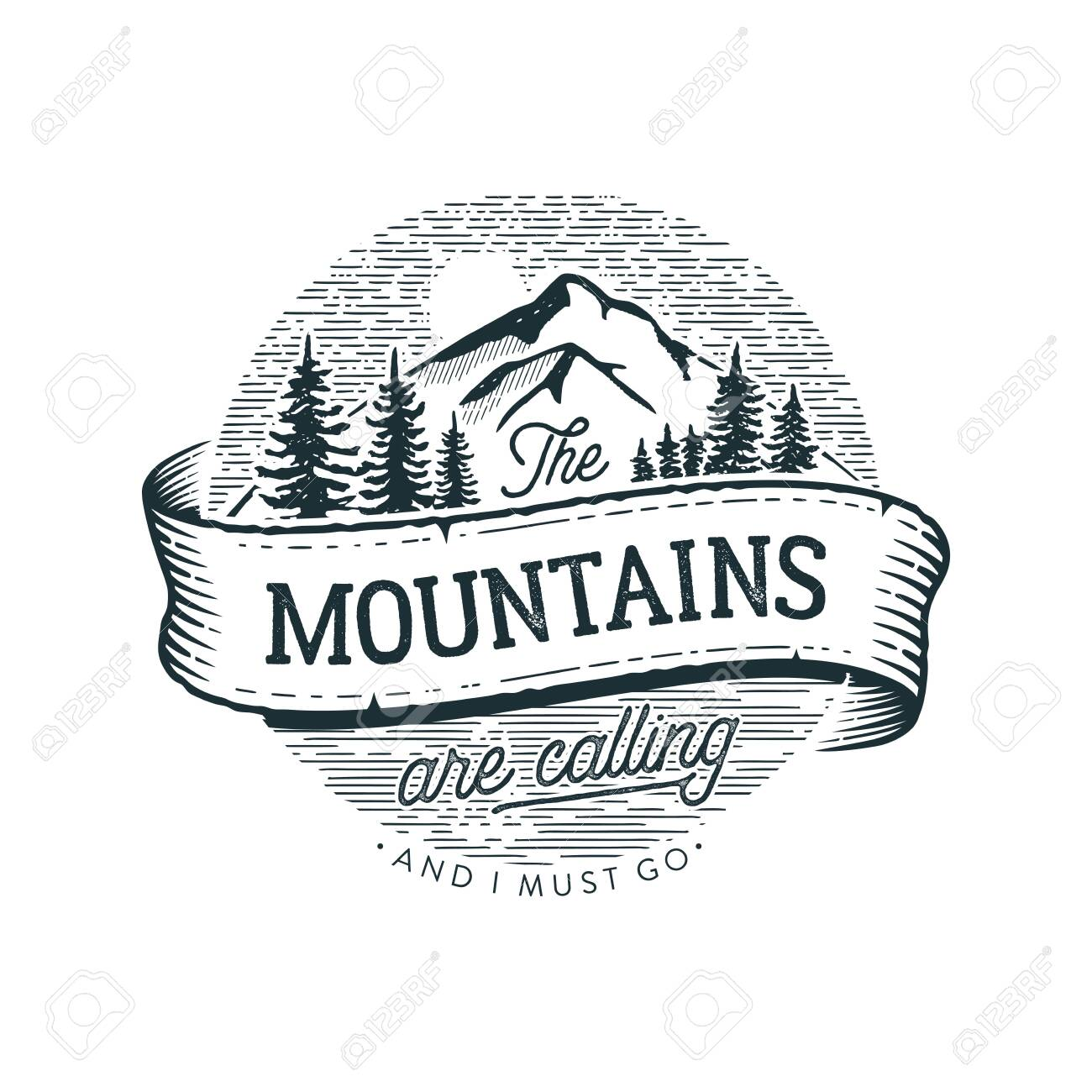 The Mountains are calling circle Vector illustration. - 119808916