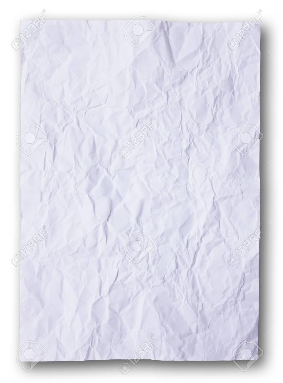 Immagini Stock Bianco Carta Sullo Sfondo Bianco Sgualcita Image
