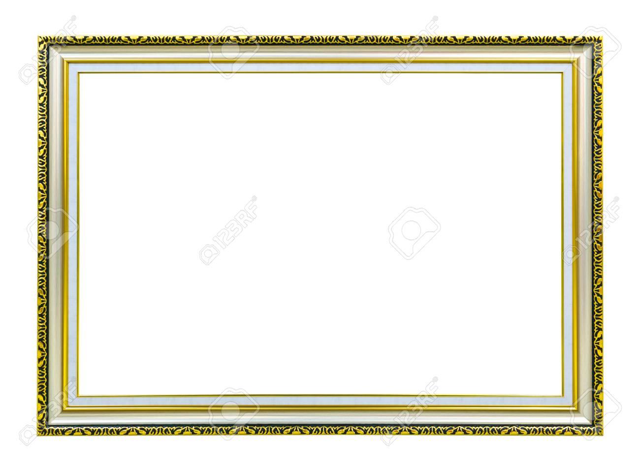 golden wood photo image frame isolated on white background Stock Photo - 8390222