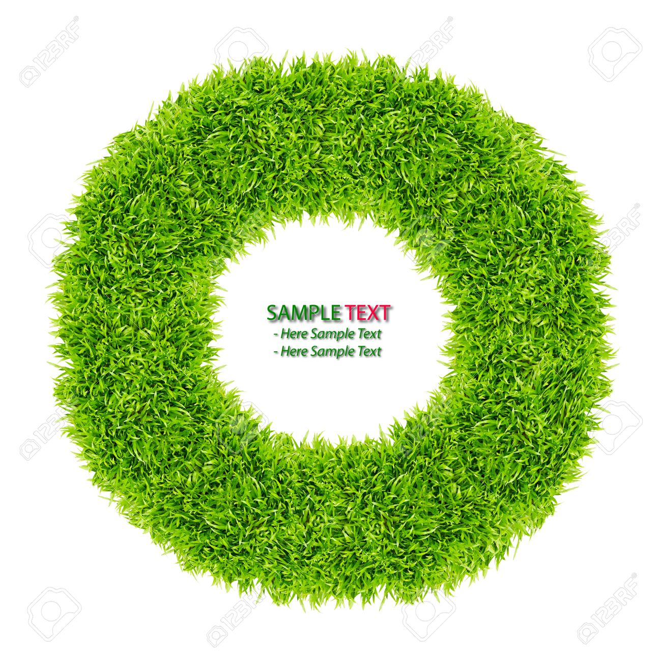 green grass donut frame isolated on white background Stock Photo - 8428665
