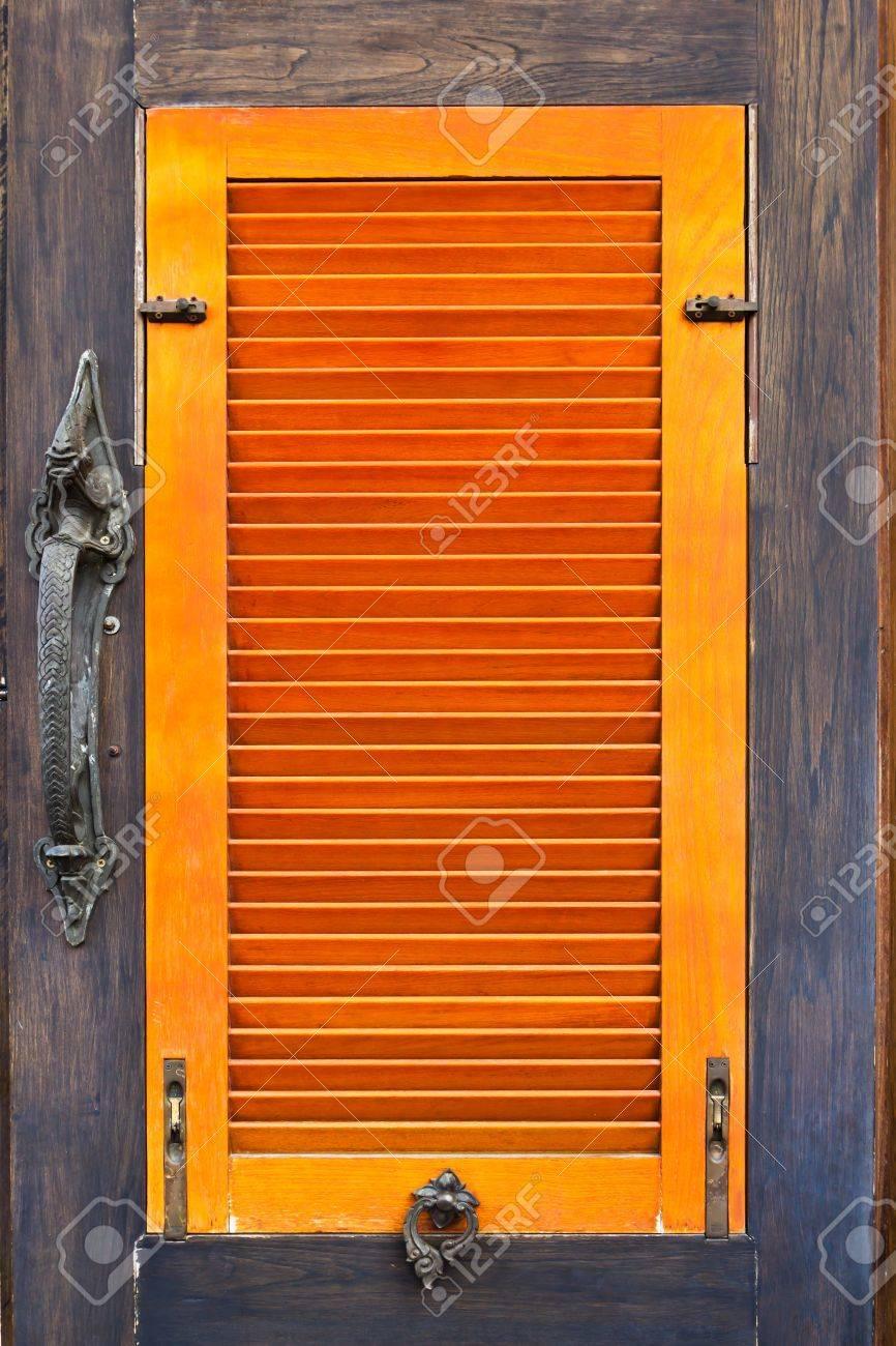 old vintage orange wood window Stock Photo - 8428661