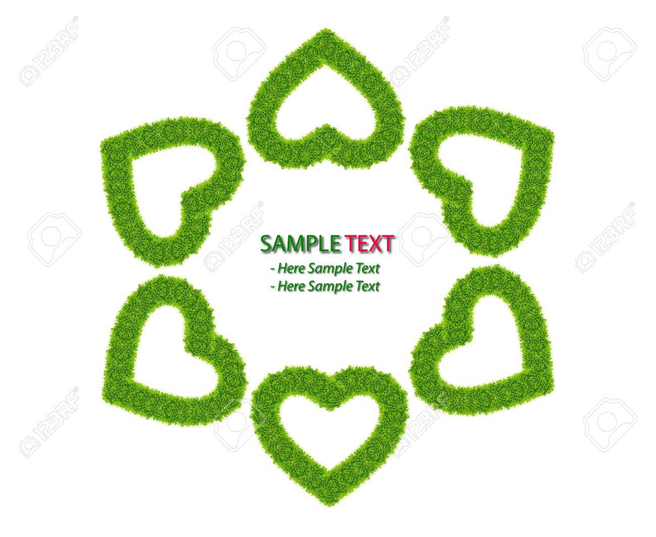 green grass love heart frame isolated on white background Stock Photo - 8671190