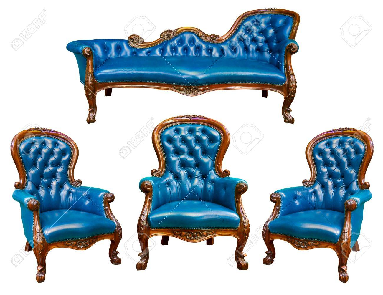 Set Of Luxury Blue Leather Armchair Isolated Stock Photo   8820456