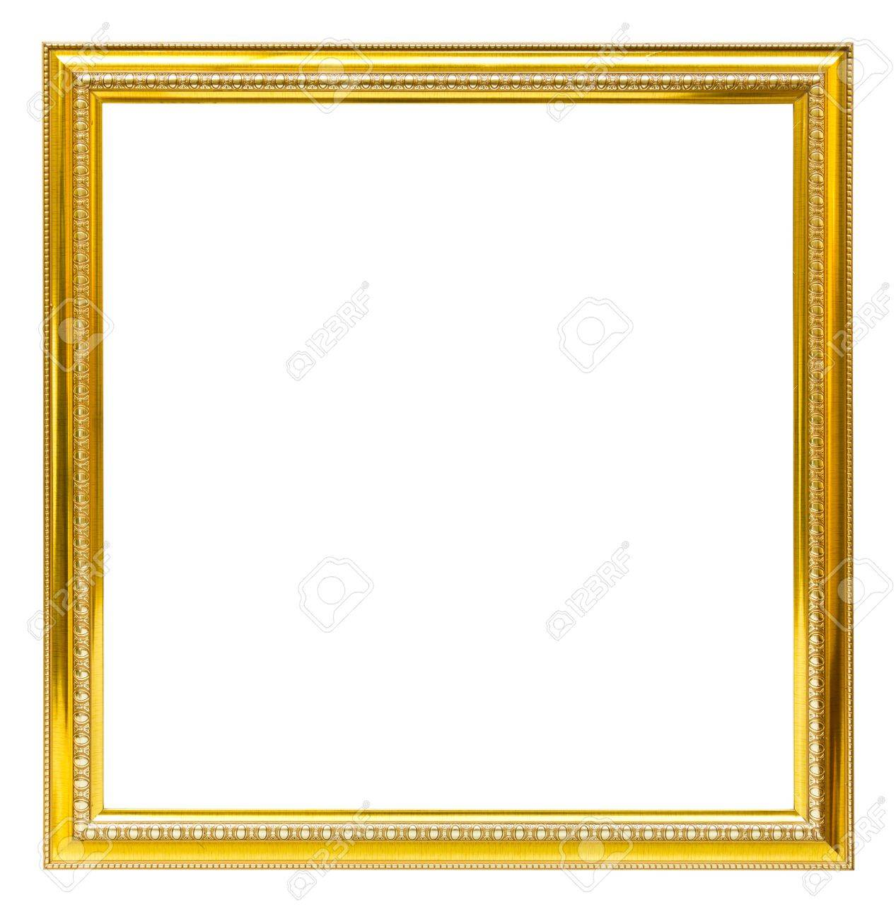 Golden Wood Frame Isolated On White Background Stock Photo, Picture ...