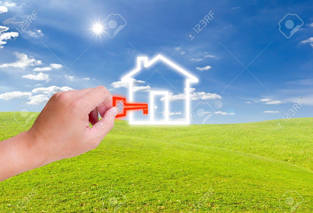 hand holding key for house icon Stock Photo - 9218203